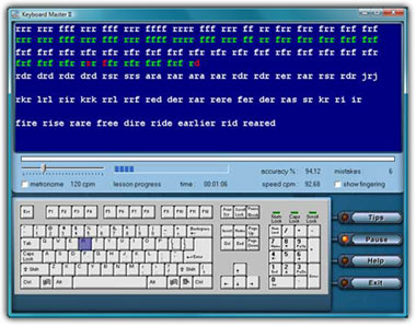 Keyboard Master Typing Tutor. Training window